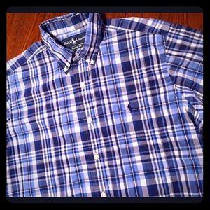 POLO Ralph Lauren Men's M Blue Plaid Short Sleeves
